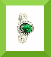 New Green Tourmaline, & White CZ 925 Silver Ring Size 8.0 FREE SHIPPING #140
