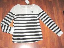 SOCCX Shirt Bluse DEAUVILLE I. weiss schwarz gestreift Gr. S 36 NEU Streifen