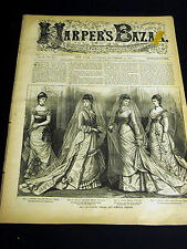 Harper's Bazar 11-10-1877  VICTORIAN FASHIONS w WEDDING BRIDAL DRESS PATTERNS
