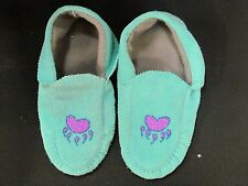 NATIVE AMERICAN BEADED  BLUE MOCCASINS 10 INCHES  SEEMLY  BEAR CLAW VAMP FLEECE