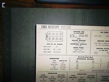 1960 Mercury Montclair & Park Lane 430 V8 SUN Tune Up Chart Excellent Condition!