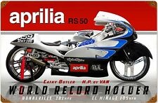 Aprilia RS50 World Record Holder rusted metal sign  (pst 1812)