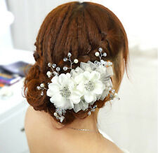 Flower Bridal Headdress Crystal Pearl Wedding Hair Accesories Tiara Heandband