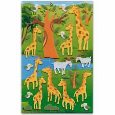 CUTE GIRAFFE FELT STICKERS Sheet Animal Raised Fuzzy Craft Scrapbook Sticker