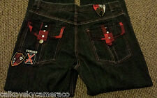Mens Evolution In Design Black Jeans Size 36 x 34 Baggy Loose Hip Hop Red Stitch