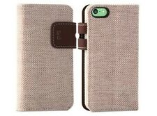 For Apple iPhone 5C Case Cover Tan Canvas Folio Protective Card Wallet w/ Stand