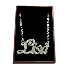 White Gold Plated Name Necklace - LISA - Gift Idea For Her - Custom Made Pendant