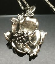 SALE  Magnolia Flower Pewter Necklace Silver Vintage Pendant Gray Black Wedding