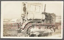 Vintage Photo Man in Caterpillar Sixty Road Consrtuction Crawler Tractor 708621