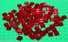 Lego 100x Transparent Red Tile 1x1 NEW!!!