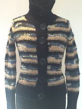 LADIES VINTAGE RETRO BLUE/CREAM STRIPED MOHAIR WOOL CARDIGAN SIZE 6 BY TOPSHOP