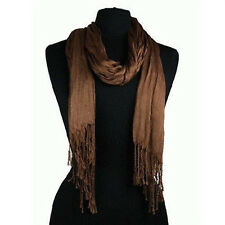 Men's Fashion Soft Solid Color Long Crinkle Silk-Cotton Neck Scarf Brown