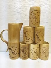 Bamboo Pitcher & 6 Cups/Tumblers Set Engraved Jamaica