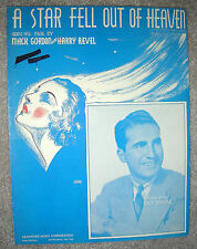 1936 Sheet Music A STAR FELL OUT OF HEAVEN by Gordon, Revel DICK STABILE