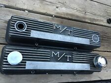 60's 70's  PAIR OF MICKEY THOMPSON M/T S/B CHEVY Black FINNED ALUM Valve Covers