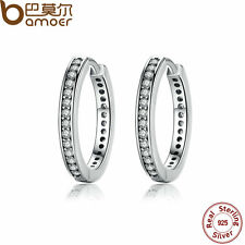 Bamoer Solid S925 Sterling Silver Loop Earrings With Clear CZ For Women Jewelry