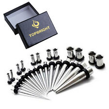 32pcs Ear Tunnel Gauges Stretching Kit Taper Set 14G-0G Gift Box Ear Piercing