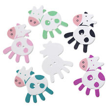 5 Wood Novelty Large Cow Sewing Buttons  39 x 35mm, crafts scrapbook
