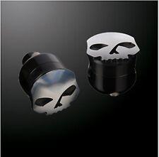 """Coppia Riser Risers Neri Black Skull 2"""" Universal Custom Bobber Harley Davidson"""