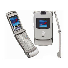 Silver Unlocked Motorola RAZR V3 Flip Mobile Phone Cellular Cellphone Handy