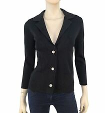 CHANEL '06 Black Stretch-Knit 3/4-Slv Notch Collar Cardigan F36/4 ~LOGO BUTTONS!