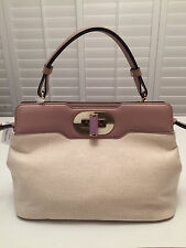 $2050 NWT Auth. BVLGARI Isabella Rossellini Leather Canvas Tote Bag