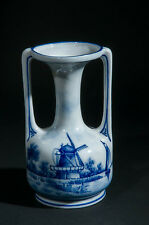 Art Nouveau Delft twin handled porcelain vase