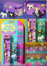 Polly Pocket Mini nuevo ♥ lila caballos auto ♥ stable on the go ♥ 1994 ♥ OVP ♥ New ♥