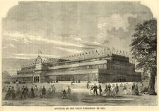 London Great Exhibition exterior in 1851 antique engraving in mount SUPERB