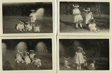 PHOTO ANCIENNE - VINTAGE SNAPSHOT - ENFANT COURONNE FLEURS MODE JEU DRÔLE -CHILD