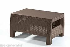 Wicker Resin Ottoman/Coffee Table Rattan Brown Patio Balcony Outdoor Furniture