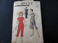 Vintage Pattern 1940's Young Teen Size 10 Blouse Pants Complete Advance 7112