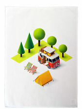Camper Van and Tent Design Cotton Tea Towel