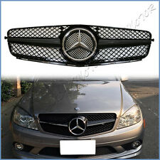 Fit On 08-14 BENZ W204 C250 C300 C350 4DR SL Type Gloss Paint Black Front Grille