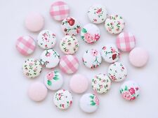 Vintage Shabby Chic Set of 6 Floral Polka Dot Fabric Buttons Sewing Crafts Cute