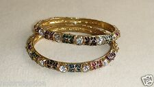 Handcrafted India Bollywood Bracelet Metal Gold Tone Pair