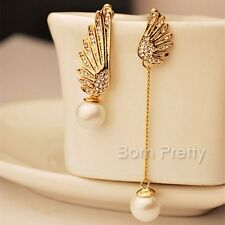 Gold Asymmetric Pearl Angel Wing Shaped Earrings Rhinestone Eardrop Ear stud