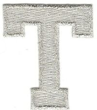 "1 7/8"" Bright Metallic Silver Monogram Block letter T Embroidery Patch"