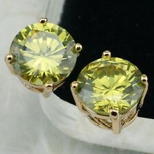 Hot Apple Green Peridot Gems Jewelry Rose Gold Filled Stud Lady Earrings H1872
