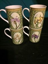 Lot of 4 American Atelier Botanical Coffee Mugs Cups Tulip Iris and Orchids