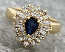 Ladies Modern 14K 585 Yellow Gold Blue Sapphire Diamond Accent Cocktail Ring