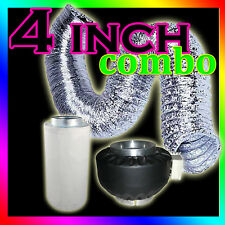 """4"""" Hydroponic Grow Light Fan Blower Carbon Air Filter Ducting Duct Grow Tent Kit"""