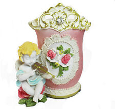 Pink Ceramic Makeup Pen Holder with Cherub Statue; Gifts Home Decoration