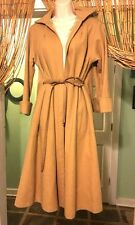 Vintage 70s Camel Stroller Trench Coat Wool With Satin Lining M
