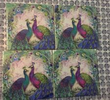Shabby Chic Tile Coasters - Peacock Paisley / Set Of 4 / Blue Green