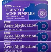 Benzoyl Peroxide 10 % Maximum Strength Acne Medication Gel 1.5 oz each 3 PACK