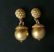 """#Vintage Anne Klein Ball #Earrings #Chunky Statement Goldtone Clip On Rare 2"""""""