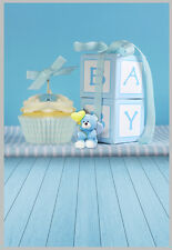 5x7FT Baby Shower Cake Gifts Bear Blue Wall Photo Studio Background Backdrop