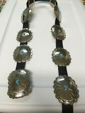 Navajo Nickel Silver Turquoise Large Concho Belt 10 Pieces Stunning Look # 4