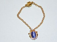 "Royal Blue Catseye Cabochon Pendant Necklace for Ellowyne and other 16"" dolls"